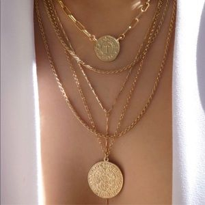 Jewelry - TRIPLE METAL COIN PENDANT necklace